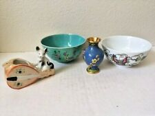 Asian Antiques,Porcelain4,pc.lot,2 Bowls,Cloisonne vase, Kitty Kat,China & Japan