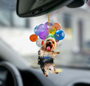 Yorkshire Terrier fly with bubbles Yorkie lovers - Mica ornament - 3x3 inches
