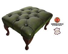 Chesterfield London 100% Genuine Leather Antique Green Footstool Handmade UK