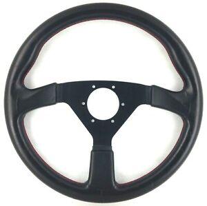 Genuine Nardi Votex 350mm black leather, red stitching steering wheel. 7C