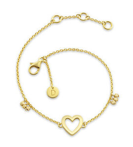 Daisy London NEW! 18ct Gold Plated Open Heart Good Karma Bracelet