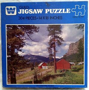1970s Whitman Jigsaw Puzzle COMPLETE 14x18 Scenic Red Barns Wolf Creek Pass, CO