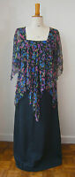 VINTAGE 1970's FLOATY FLORAL CHIFFON TOP LONG BLACK MAXI DRESS 70s GLAMOUR PARTY