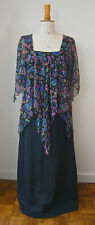 VINTAGE 1970s BLACK CERISE & BLUE CHIFFON TIERED MAXI LONG DRESS PARTY WEDDING