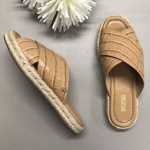 Michael Kors Linden Slide Sandal Suntan Open Toe Espadrille Croc Size 6.5