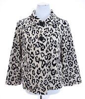 Chicos Faux Fur Leopard Animal Print Swing Jacket Sport Coat Womens 0 Sz Small 4