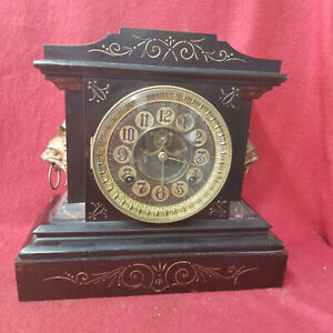 Ansonia Iron Mantle Clock With Leather Dial and Mythological Devils--Circa 1901