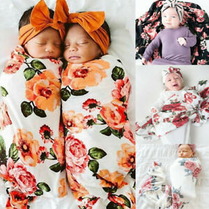 New Newborn Infant Baby Floral Swaddle Turban Hat Soft Sleeping Blanket Wrap Set