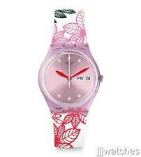 New Swiss Swatch SUMMER LEAVES Women Silicone Date Watch 34mm GP702 $65