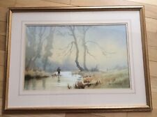 Original watercolour Denis Pannett Painting Fly Fishing wall art
