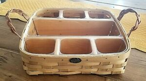Peterboro Large Buffet Basket with Plastic Liner Wood Divider Leather Handles