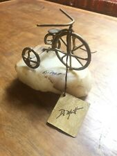 Vintage Welded Brass Metal Tricycle On Onyx Stone Sculpture Signed DeMott. 1975