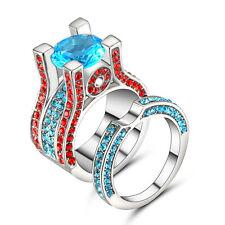 Fashion Jewelry Blue Topaz /Red Gemstone White Gold Filled Ring Set Size 6 Women