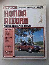 HONDA ACCORD 1977-1981 SERVICE & REPAIR MANUAL Gregory's No 196