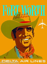 Ft. Fort Worth Texas Cowboy United States Travel Advertisement Art Poster