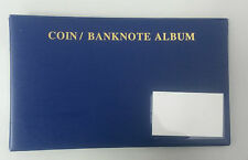 Coin/PNC/Banknote Album Binder with 5 Single Banknote Sheets: Blue