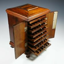 Antique Victorian Wood Cigar Caddy Box, Table Top Cabinet, Lockable Front Doors