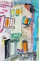 aceo City Street urban miniature collectible watercolor painting art Delilah