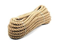 18mm 100% Natural Pure Jute Rope 3 Strand Braided Twisted Cord Twine Sash New