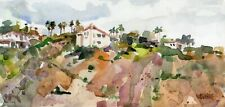 Original Watercolor - LAKE HODGES HILLSIDE - Signed - Image 4 x 8.5 inches