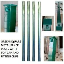 METAL FENCE FENCING POST GREEN GARDEN FENCE METAL POST 2.3M 1.5M SQUARE WITH CAP