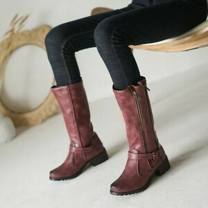 Retro Womens Riding Boots Block Low Heels Mid-calf Boot Round Toe Side Zip Shoes