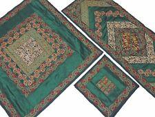 Green Embroidered Table Overlay Runner 4 Placemats Set Elegant Designer Linens