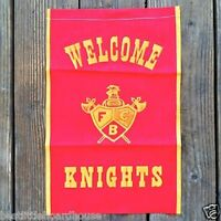 Vintage Original WELCOME KNIGHTS FRATERNAL Fabric Banner 1920s NOS never used