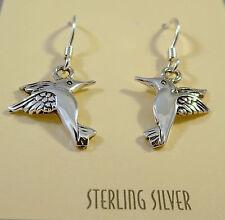 .925 Sterling Silver HUMMINGBIRD EARRINGS Dangle/Drop 925 NEW NV27