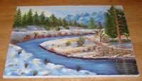 VINTAGE FOLK ART PRIMITIVE EVERGREEN TREE SNOW WINTER STREAM LANDSCAPE PAINTING
