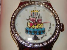 BETSEY JOHNSON Silver Tone Boyfriend Bling BIRTHDAY CAKE Watch NEW IN BOX