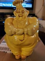 Vintage 1940s RED WING Pottery Chef Pierre COOKIE JAR, Hand painted, Yellow