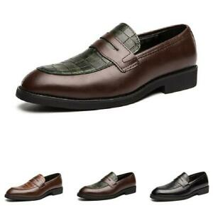 Mens Business Work Oxfords Slip on 4 Color Low Top Leisure Faux Leather Shoes D