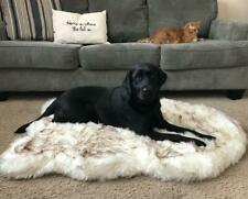 Tyteps Faux Fur Orthopedic Dog Bed Curve White Dog Rug For Big Medium Small