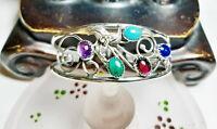 Vintage Handmade Sterling Open Work Blue Green Purple Stones Cuff Bracelet B197