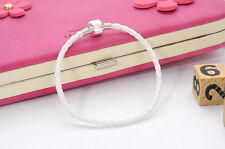 Fashion White Leather Bracelet Chain Bangle Fit European Charm Bead Buckle19cm