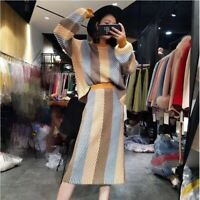 Japanese women's casual Cashmere blend knit sweater+Knit skirt suits Knitwear