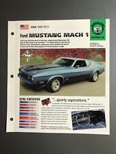"""1969 - 1973 Ford Mustang Mach1 IMP """"Hot Cars"""" Spec Sheet Folder Brochure Awesome"""