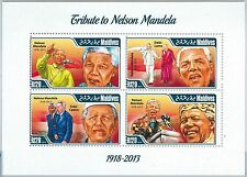 MALDIVES - ERROR, 2014 MISSPERF SHEET: TRIBUTE TO MANDELA, F. CASTRO, DALAI LAMA