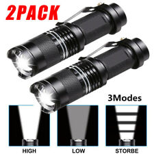2pcs Tactical 14500 Flashlight LED High Power 3Mode Zoomable Torch Camping Light