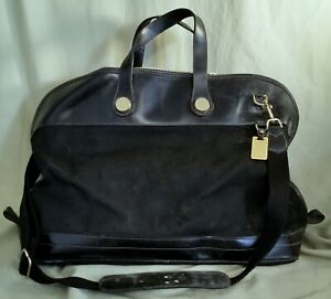 DOONEY & BOURKE EXTRA LARGE BLACK CANVAS/LEATHER SHOULDER BAG PURSE TOTE W/STRAP