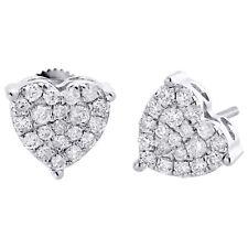10K White Gold Diamond Heart Shape 3 Prong Studs Womens Fancy Earrings 3/4 CT.