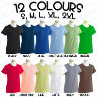 GILDAN LADIES T-SHIRT WOMEN TEE ADULT LADY-FIT PLAIN BLANK WORK UNIFORM TOP