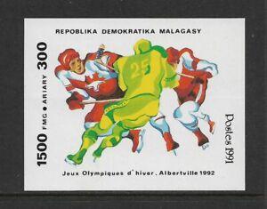 MALAGASY REPUBLIC 1991 Winter Olympics Ice Hockey mint imperf mini sheet MNH MUH