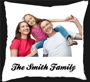 Personalised WITH ANY PHOTO AND ANY NAME satin soft cushion cover + FILLING