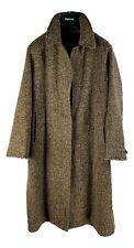 Womens Burberry Irish Tweed Bell Coat L XL oversized 16L Brown Herringbone t8