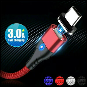 3A Fast LED Magnetic usb Cable For Samsung S10 S9 A51 Micro Type C Charger Cable
