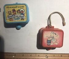 New ListingLot 2 Vintage Disney It's A Small World Pull Cord Music Boxes Works Japan Donald