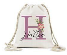 Personalised Drawstring Bag, Girls Pink Initial & Name,School.PE, Dance Bag