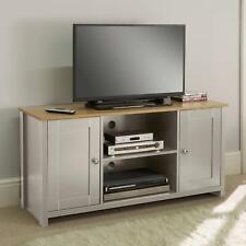 Grey Oak TV Stand Two Tone 2 Door Cabinet Television Unit Open Shelf Seconds